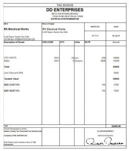 Sale invoice format